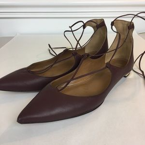Aquazzura Firenze lace up pointy flat shoes 41